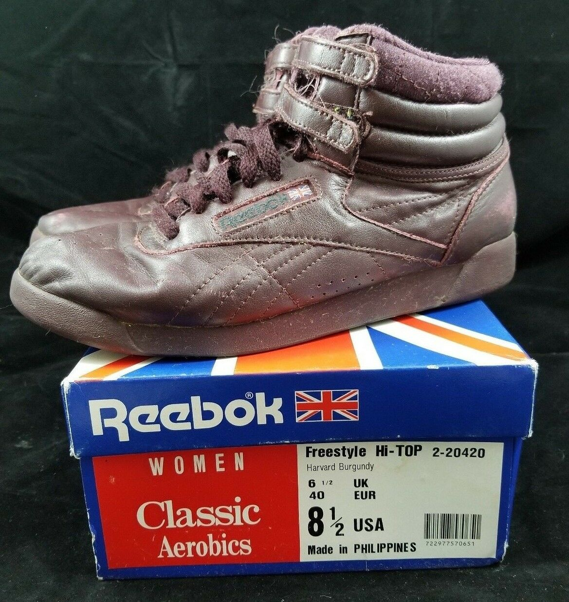 Vintage Reebok Freestyle Hi-Top Con Caja Zapatos para mujer aeróbic 80s 8.5 Borgoña