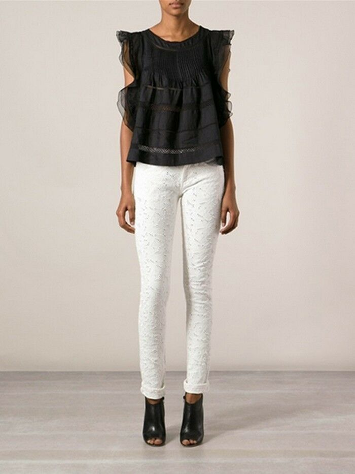 ISABEL MARANT ÉTOILE Mael embroidered low-rise skinny jeans Size 38