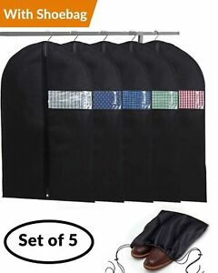 13679e477fa0 Details about Garment Bags with Shoe Bag - Breathable Garment Bag Covers  Set of 5 for Suit Car