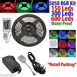 5050-5M-RGB-LED-SMD-ETANCHE-RAYURE-KIT-COMPLET-TELECOMMANDE-INFRA-ROUGE-UK