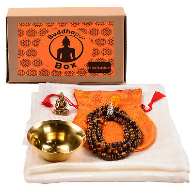 Meditations-box: Khata, Mala Tigerauge, Akshobhya Buddhafigur, Opferschale Perfetto Nella Lavorazione