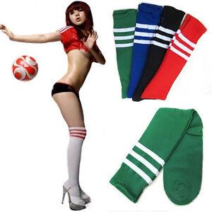 Femmes-rayures-dessus-genou-haute-chaussettes-sport-arbitre-fantaisie-coton