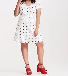 6ae6990222fd2 Image is loading Torrid-Heart-Print-Textured-Skater-Dress-White-4X-