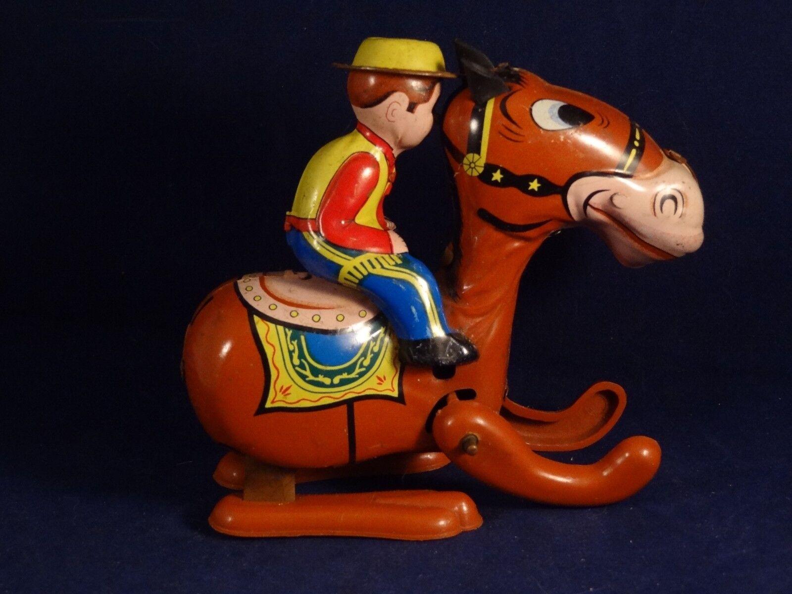 Carnaval de Noël, Noël, Noël, bonne offre à Noël Ancien jouet mécanique cavalier cow-boy cheval tôle lithographiée Mikuni 1960 78e453