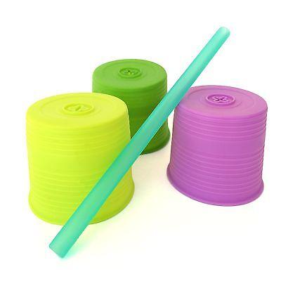 Silikids Siliskin Universal Silicone Straw Top with Straw - Set of 3