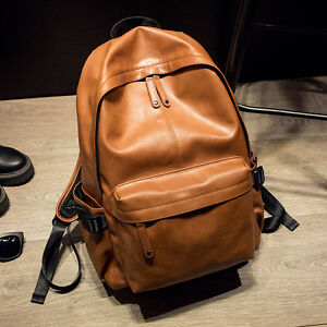 46c20980dbe6 Vintage Men s Faux Leather Solid Backpacks Simple Bookbags Casual ...
