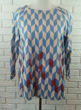 Boden Ponte Sequin Knit Top Shirt US 16 XL Blue Beige Pink Mod Retro