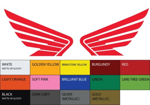 "2X HONDA Wings Symmetric Vinyl Sticker Decal 3/""x4.25/"" Car Motorcycle Logo Racing"