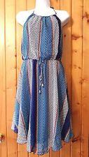 City Triangles Blue Chevron Print Dress Siz S Modcloth Gold Trim Neckline Halter