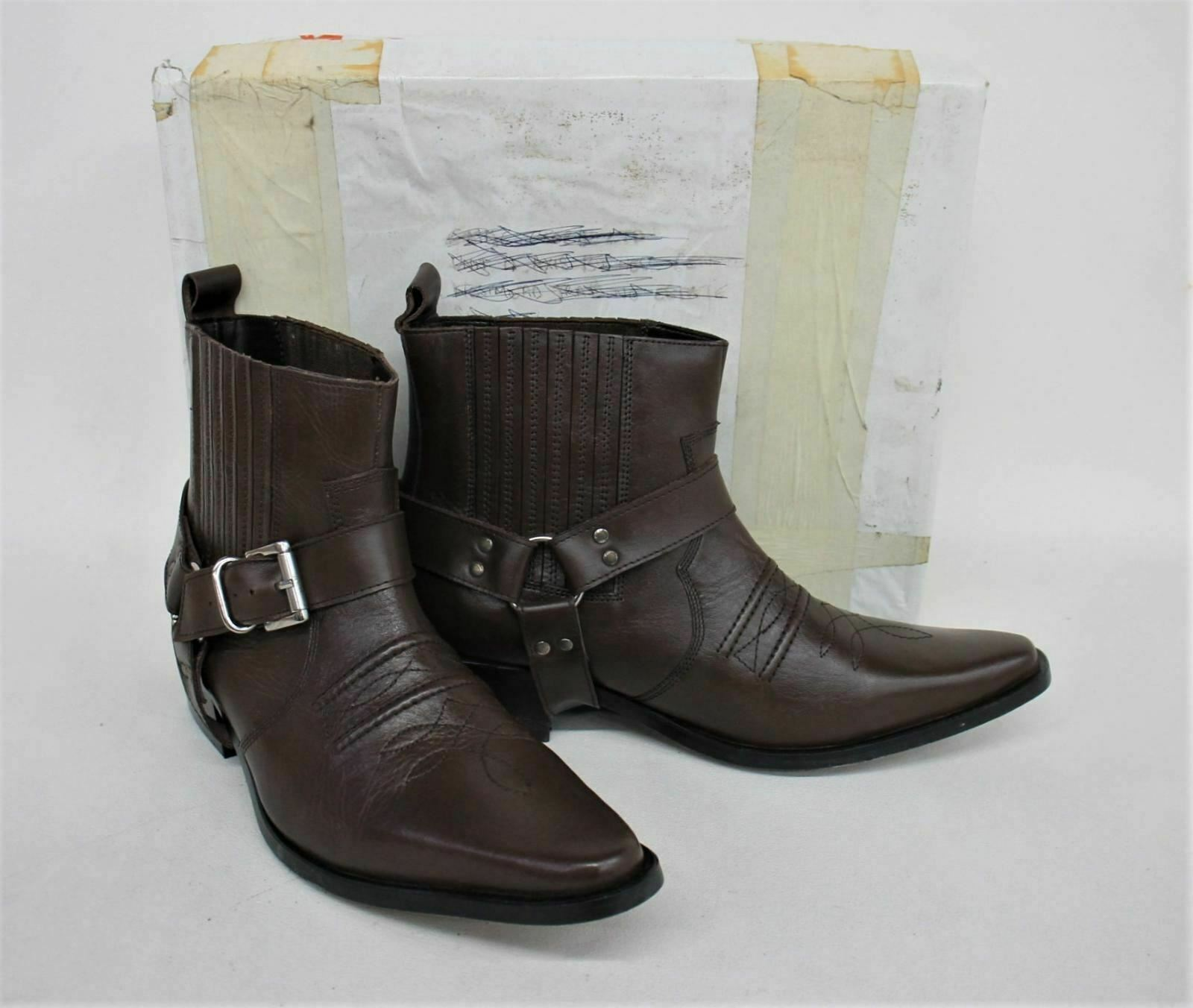 GRINGOS Men's Brown Leather Uppers Western Ankle Cowboy Boots UK9 EUR42 NEW