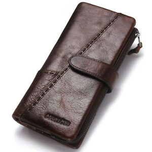 Men-039-s-Genuine-Cowhide-Leather-Wallet-Long-RFID-Trifold-Card-Holder-Clutch-Purse