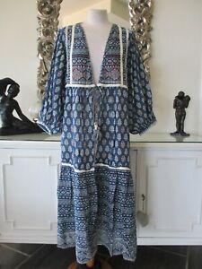 Zara blau weiß Baumwolle Bestickt Lang Kimono Kaftan ...