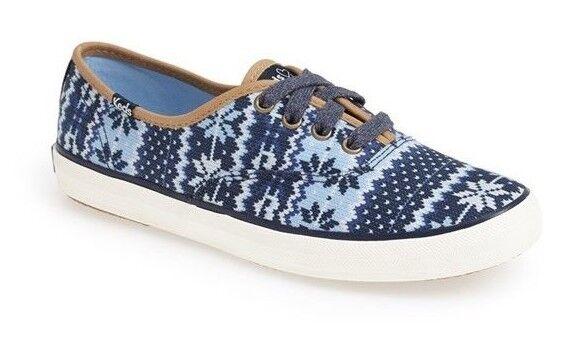 Nouveau Femmes Keds Taille 9.5 Chaussures Tennis Taylor Swift Fair Isle Bleu Blanc