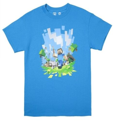 Minecraft Adventure Light Blue Youth/'s Official Licensed T-Shirt