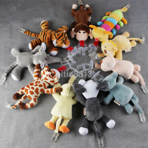Baby Boy Girl Dummy Pacifier Clip Chain Plush Animal Toy Soother Nipple Holder A