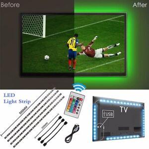 4PCS-5V-SMD-5050-RGB-LED-Strip-Light-Bar-TV-Back-Lighting-Kit-USB-Remote-Control