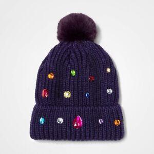 Girls-Knit-Beanie-Hat-Cat-amp-Jack-Navy-Blue-Jewels-OSFM-27