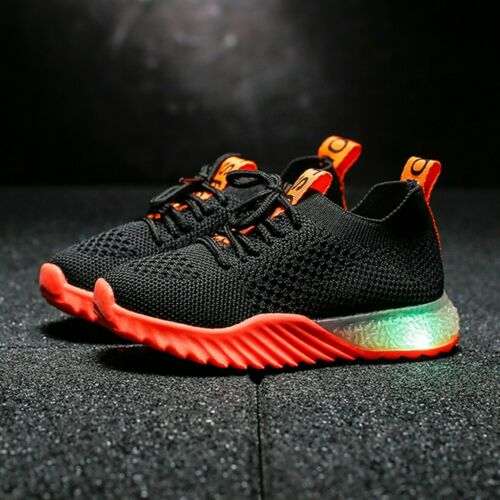 Children Kid Baby Girl Boy Letter Mesh Led Luminous Sport Run Sneakers Shoes UK