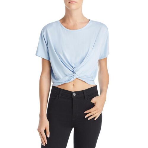 Sadie /& Sage Womens Blue Tie-Front Short Sleeve Tee Crop Top Shirt L BHFO 0609