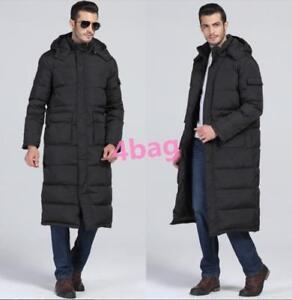 Mens-Coat-Black-Long-Hooded-Full-Length-Parka-Jacket-Warm-Stylish-Down-Winter