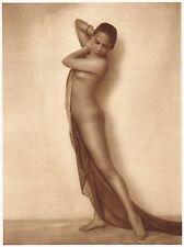 1920s Vintage Asian Malaysian Female Nude Art Deco Schneider Photo Gravure Print