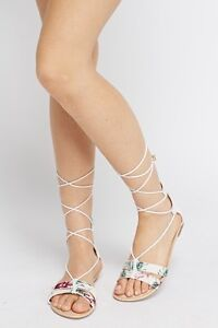 45a49320552f new ladies white summer floral print canvas tie up lace up flat sandals ...