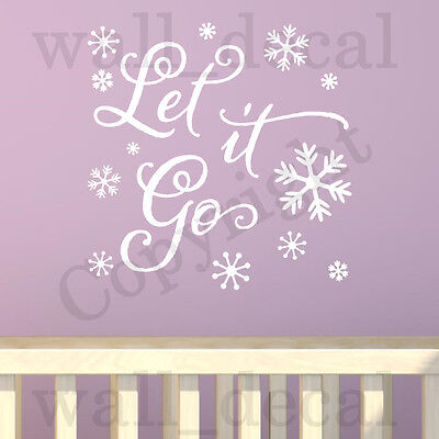 Frozen Let It Go Anna Elsa Olaf Snowflake Wall Decal Vinyl Sticker Quote Decor