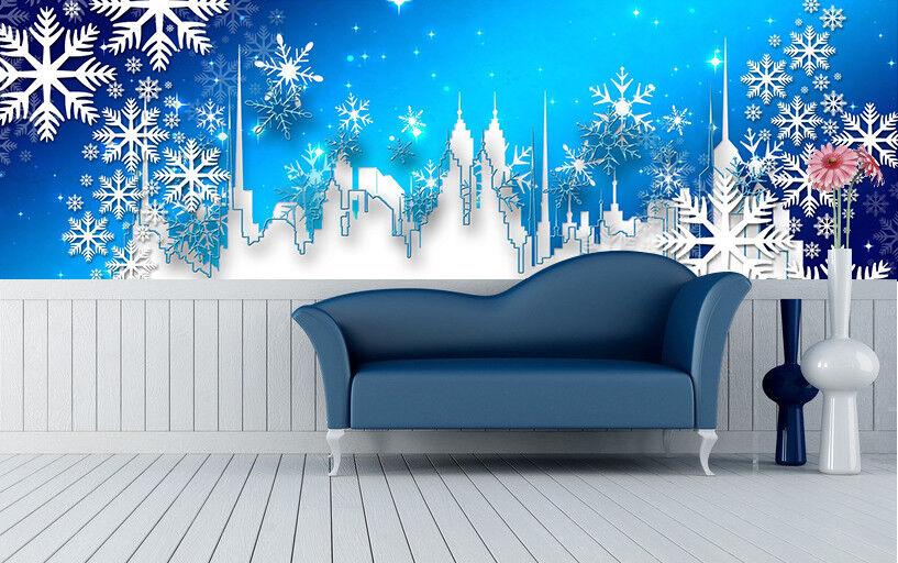 3D Snowy City 578 Wallpaper Murals Wall Print Wallpaper Mural AJ WALLPAPER UK