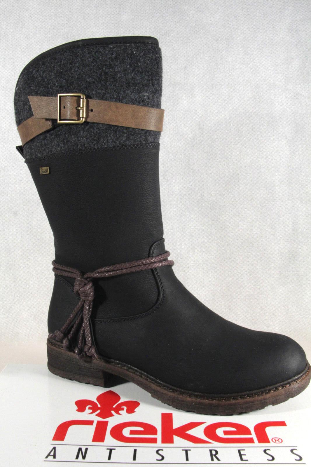 gefüttert warm schwarz Stiefeletten Stiefel Rieker Tex 94778