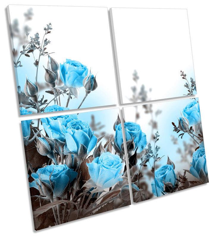 Azul Rosas Flores Floral Lona Pared Arte Arte Arte Cuadrado de impresión de múltiples 62f0ee