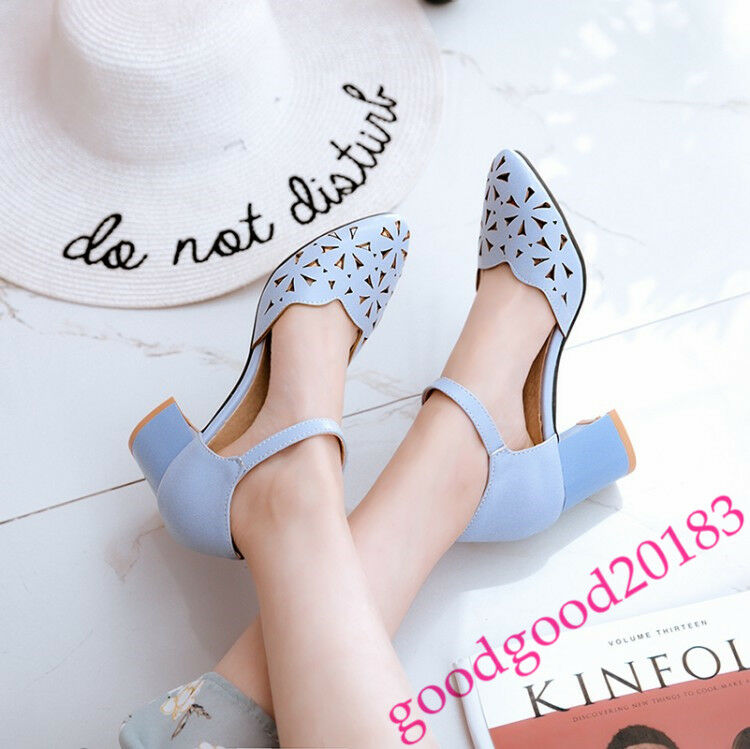 New Fashion ladies hollow out ankle strappy sandals block heel shoes summer Pump