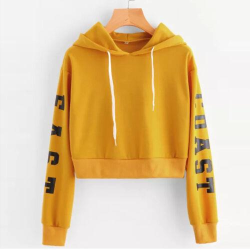 Womens Letters Long Sleeve Hoodie Sweatshirt Jumper Pullover Crop Tops Shirt US