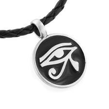 "Egyptian Eye of Horus Amulet Silver Pewter Pendant 20"" Necklace"