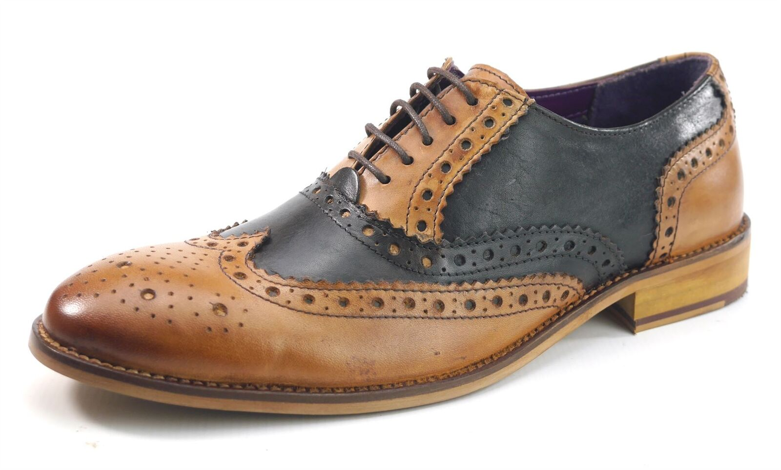 Frank James Redford Brogues Lace Up Formal Mens Leather Shoes Tan / Brown