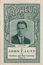 "Bert Swor ""EARL CARROLL VANITIES"" Walker Whiteside 1927 Reading Orpheum Playbill"
