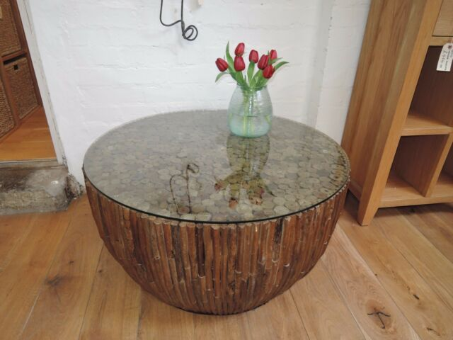 Reclaimed Driftwood 90cm Diameter Toughened Gl Top Coffee Table Code At324