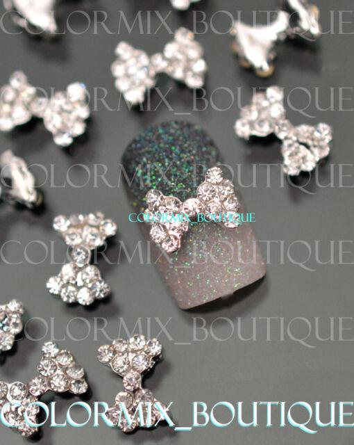 #CA103  Nail Art Decration  Alloy Jewelry Slice 3D Bow Knot Glitter Rhinestones