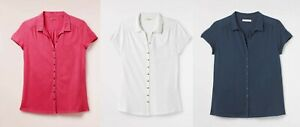 White-Stuff-Short-Sleeve-Cotton-White-Navy-Pink-Blouse-Shirt-Top-10-12-14-16-18