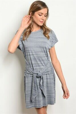 Gilli Short Sleeve Navy Grey Scoop neck knotted jersey tunic dress.
