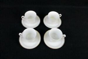 4-Gibson-Designs-Housewares-White-Tuxedo-Gold-Trim-Gilt-Fluted-Teacups-Saucers