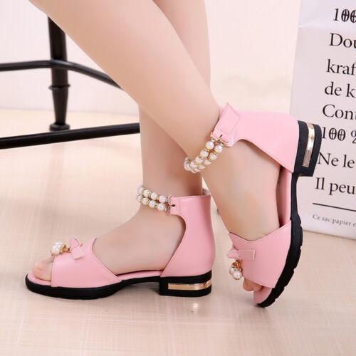 New Summer Kids Girls Casual Flowers Party Wedding Princess Sandals Dress Shoes