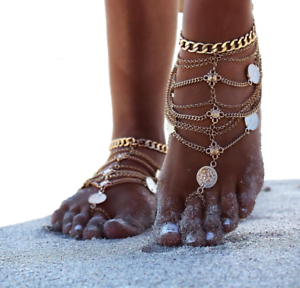 Boho Silver Coloured Heavy Multi Layered Body Leg Chain Hand Buddha Ethnic UK
