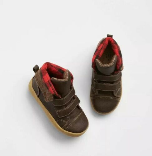 Size 7 NWT Boys Baby Gap Brown Red Plaid High Top Sneaker Boots