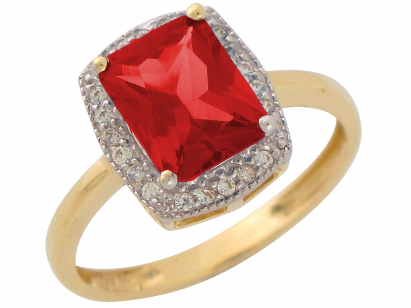 10k or 14k Two-Tone gold Simulated Ruby and White CZ Ladies July Birthstone Ring