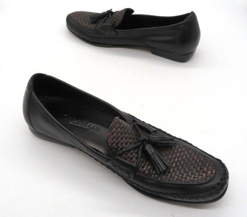 Cole Haan AA Negro Marrón Tejido Borla Mocasín estrecho Sin Cordones Mocasín Borla Zapatos 15c795