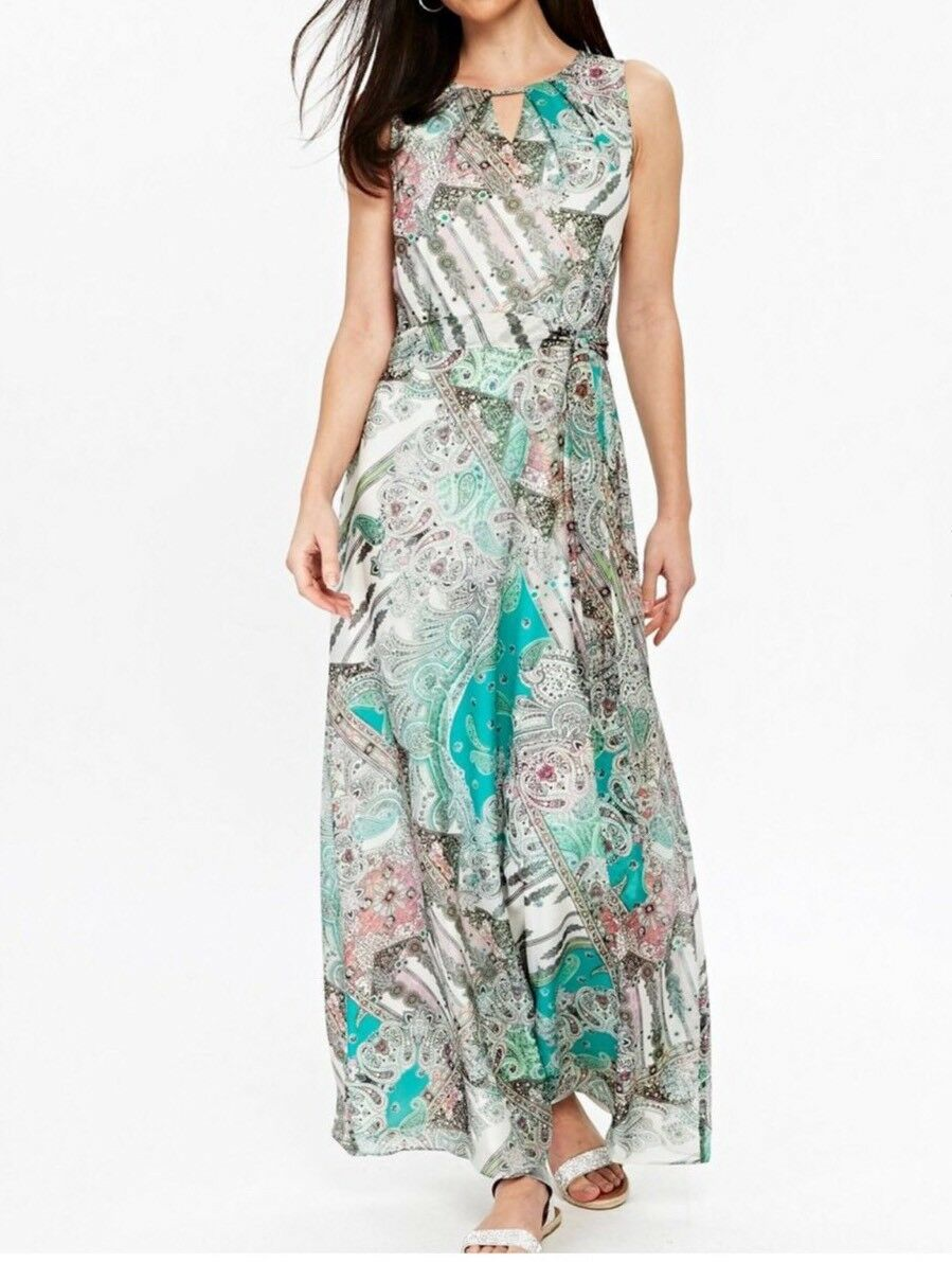 Wallis Green Paisley Print Maxi Dress UK Size 16