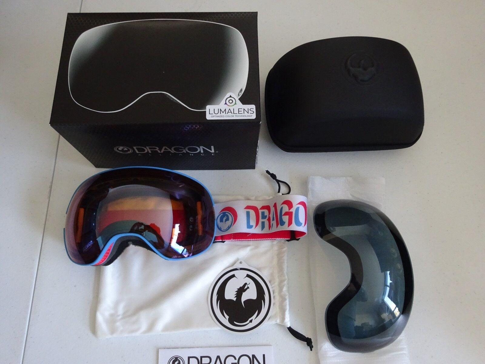 Dragon X2 Verge Lumalens Flash bluee + Dark Smoke Snow Goggle NIB NEW 2017