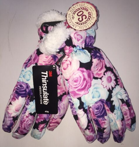 *NEE Girls Sherpa Trimmed Floral Pattern Winter Ski Gloves Youth Size S 4-6