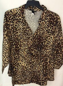bb0f1b6642c Lane Bryant Size 28 blouse Animal Print Browns And Black 3 4 Sleeve ...
