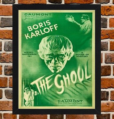 Framed The Ghoul Horror Movie Poster A4 / A3 Size In Black / White Frame